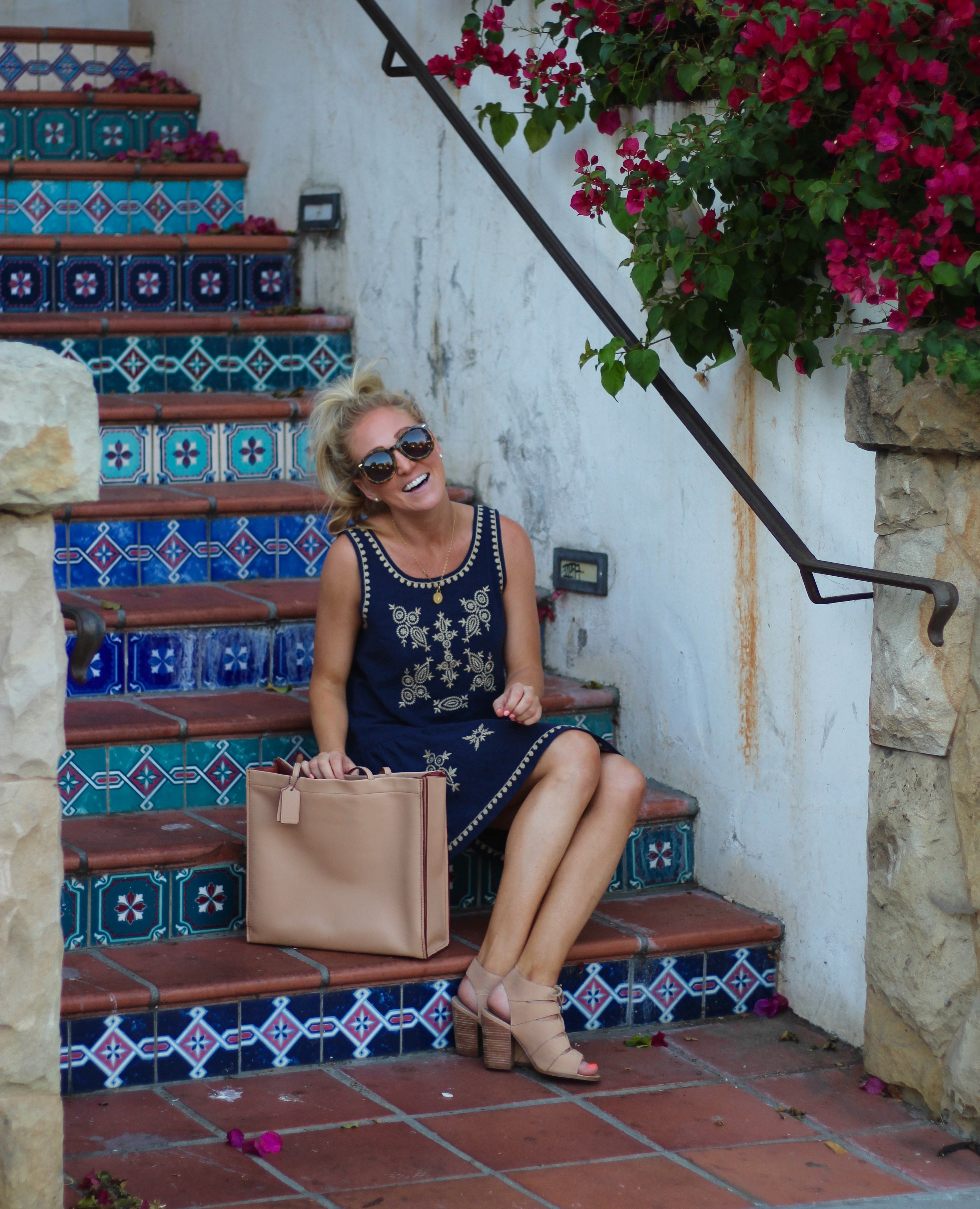 embroidered dress + spanish tiled steps - torey's treasures