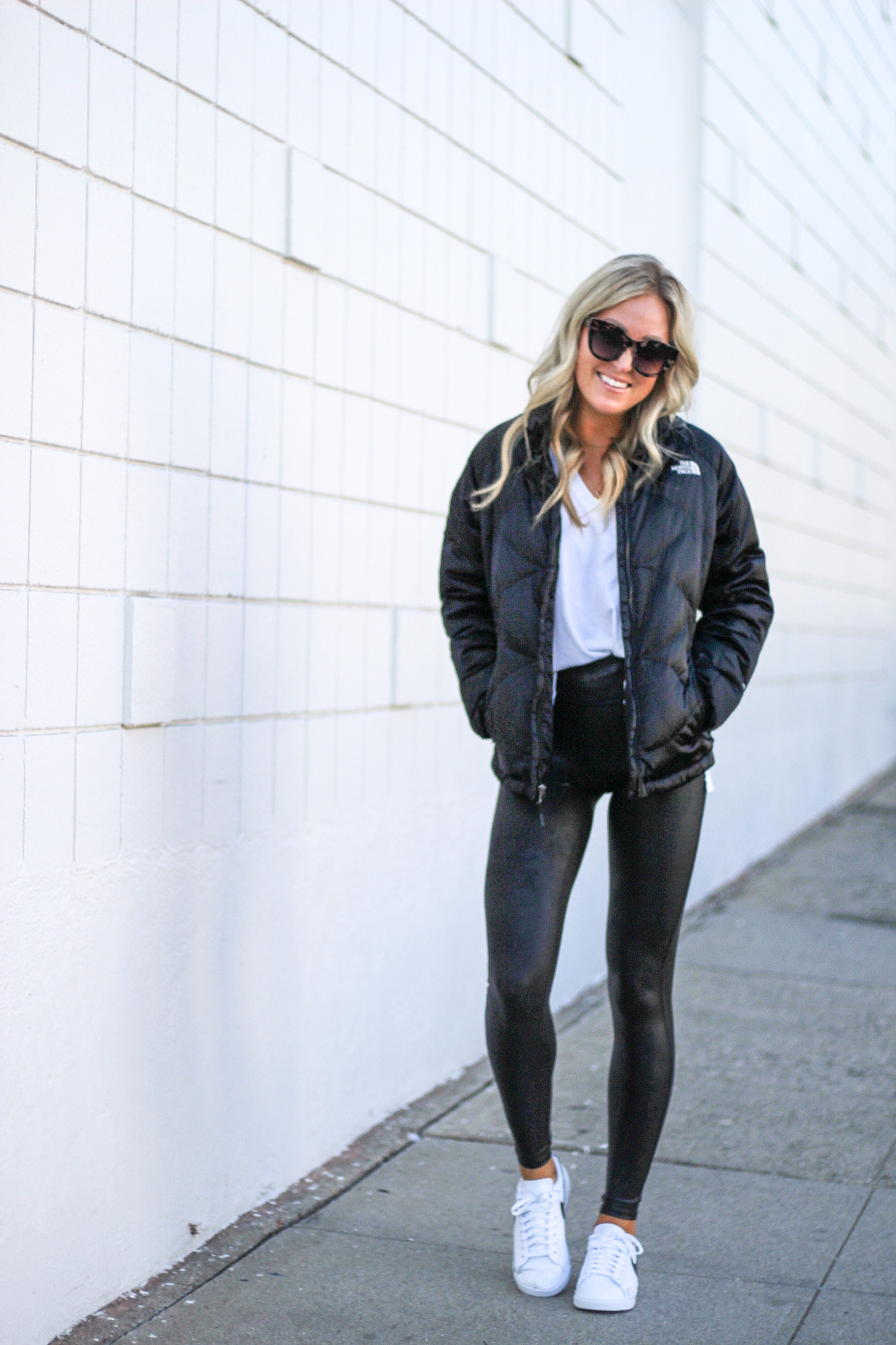 62a1489bc LEGGINGS  Spanx    JACKET  North Face (love this North Face vest)    TEE   Halogen    SHOES  Nike (I love these Nike sneakers too)    SUNGLASSES  Le  Specs